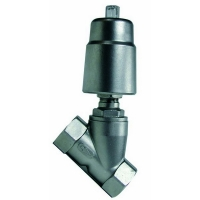 Inox kosi navojni ventil sa pneumatskim pogonom, NPT navoj